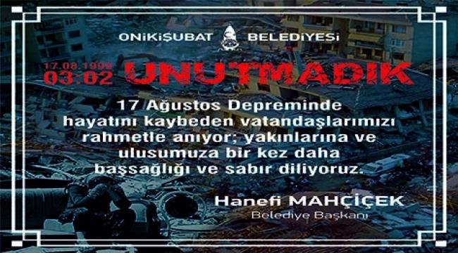 """MAHÇİÇEK """"ALLAH ÜLKEMİZİ TÜM FELAKETLERDEN MUHAFAZA EYLESİN"""""""